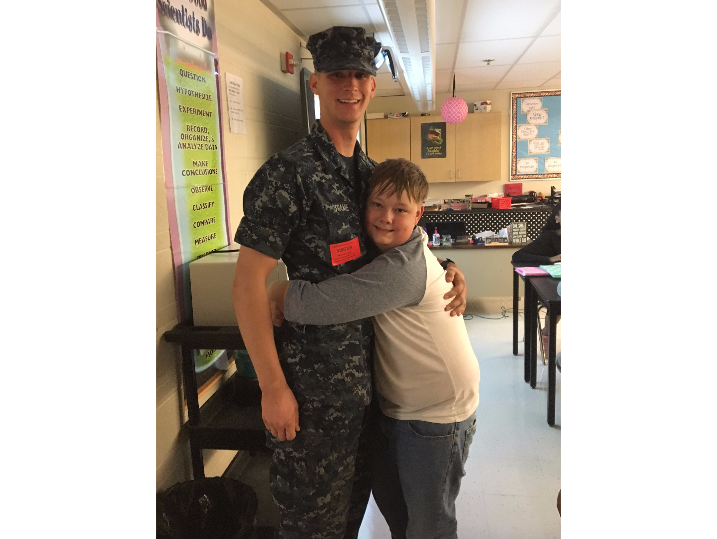brayden lewis hazelwood northwest middle school student surprised by brother michael frame us navy sailor - Michael Frame